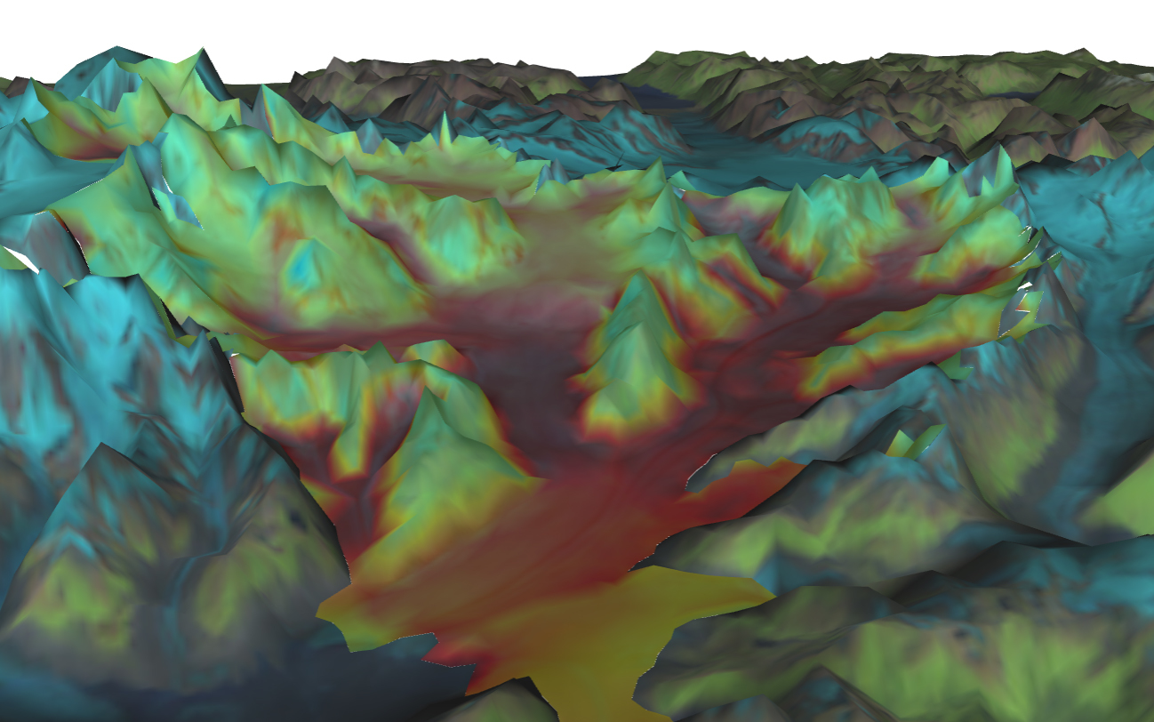 A simulation by VESL of Columbia Glacier, Alaska. Credit: NASA/JPL-Caltech.