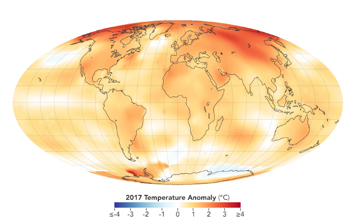 2017 Temperature Anomaly (Degrees Celsius)