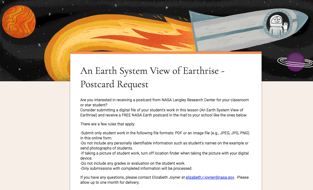 Postcard Requst: An Earth System View of Earthrise
