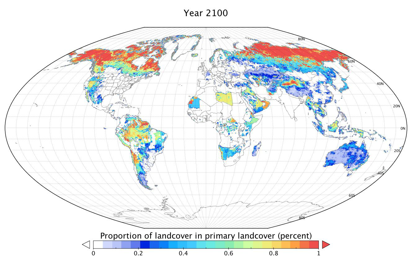 Proportion of landcover projected for year 2100