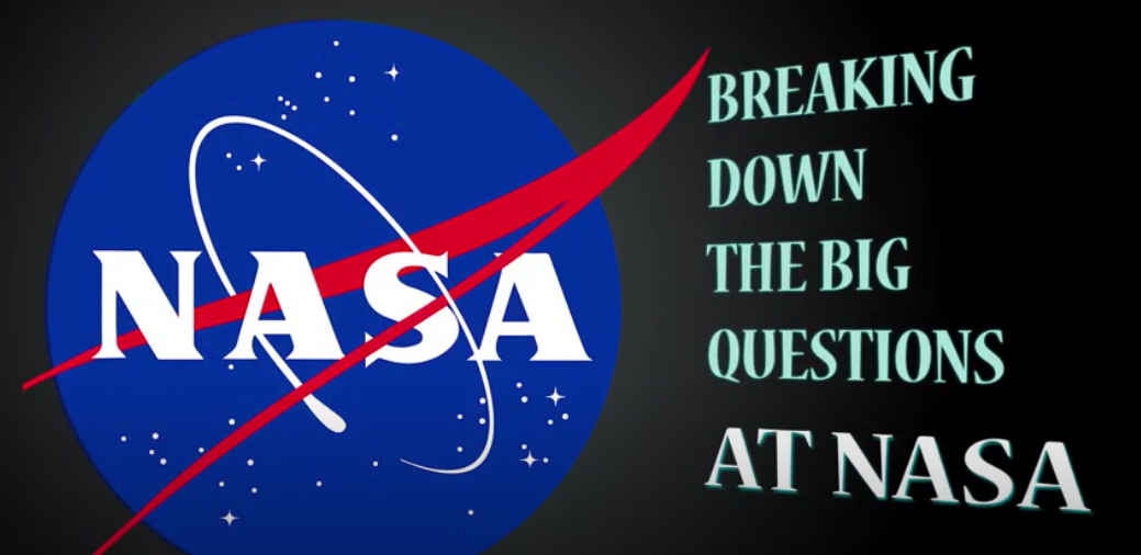 "Image shows the NASA logo with text reading ""Breaking down the big questions at NASA"""