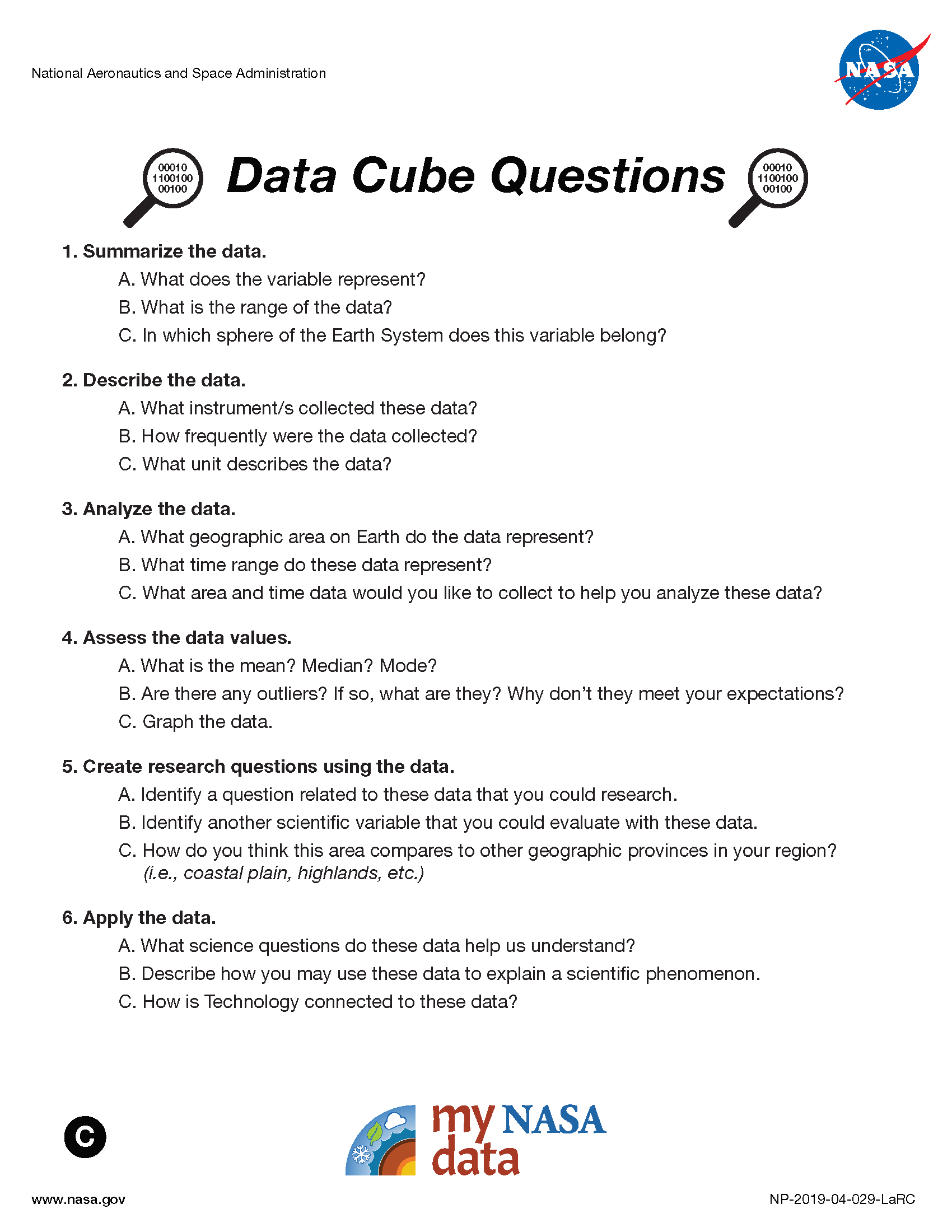 My NASA Data - Data Literacy Cube - Advanced Questions