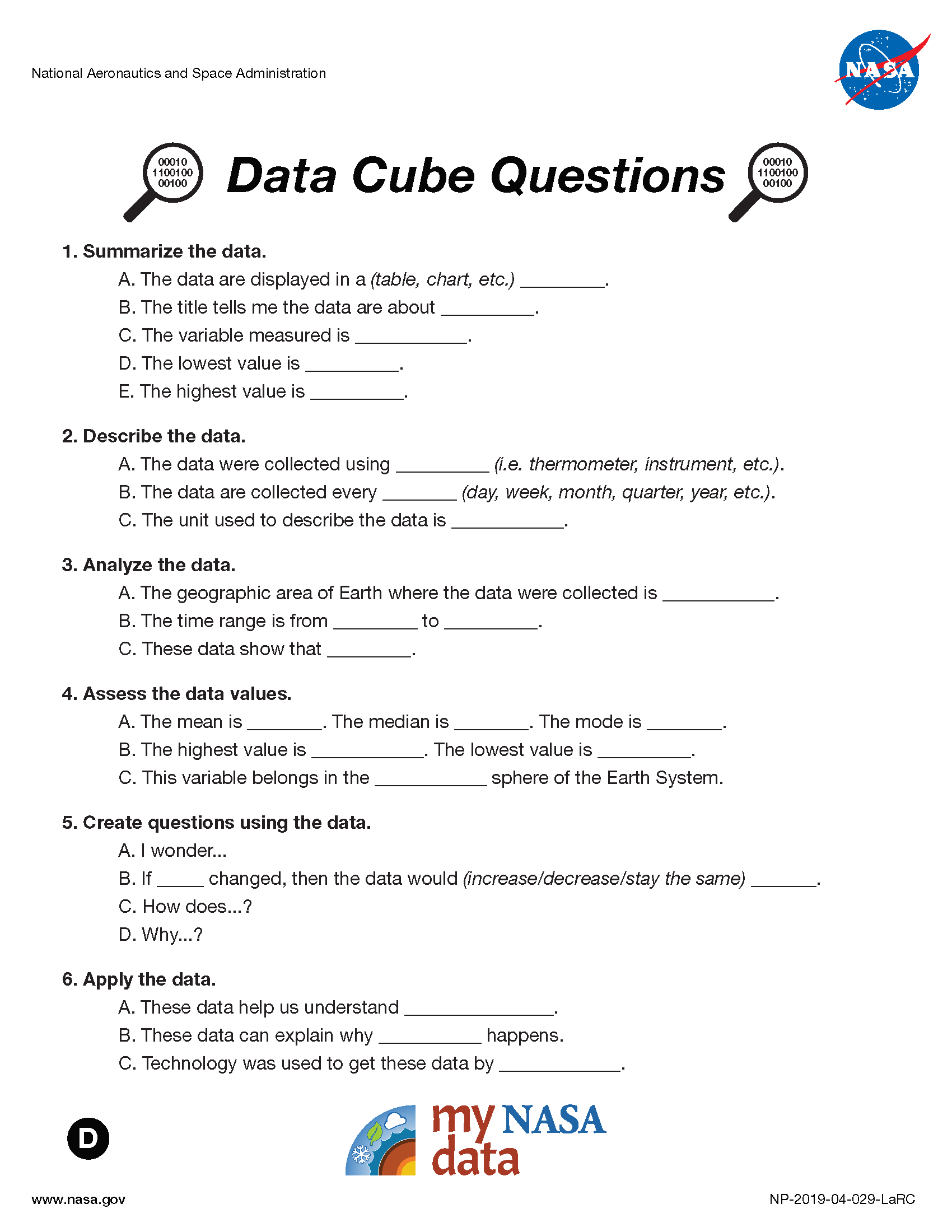 My NASA Data - Data Literacy Cube - ELL Questions