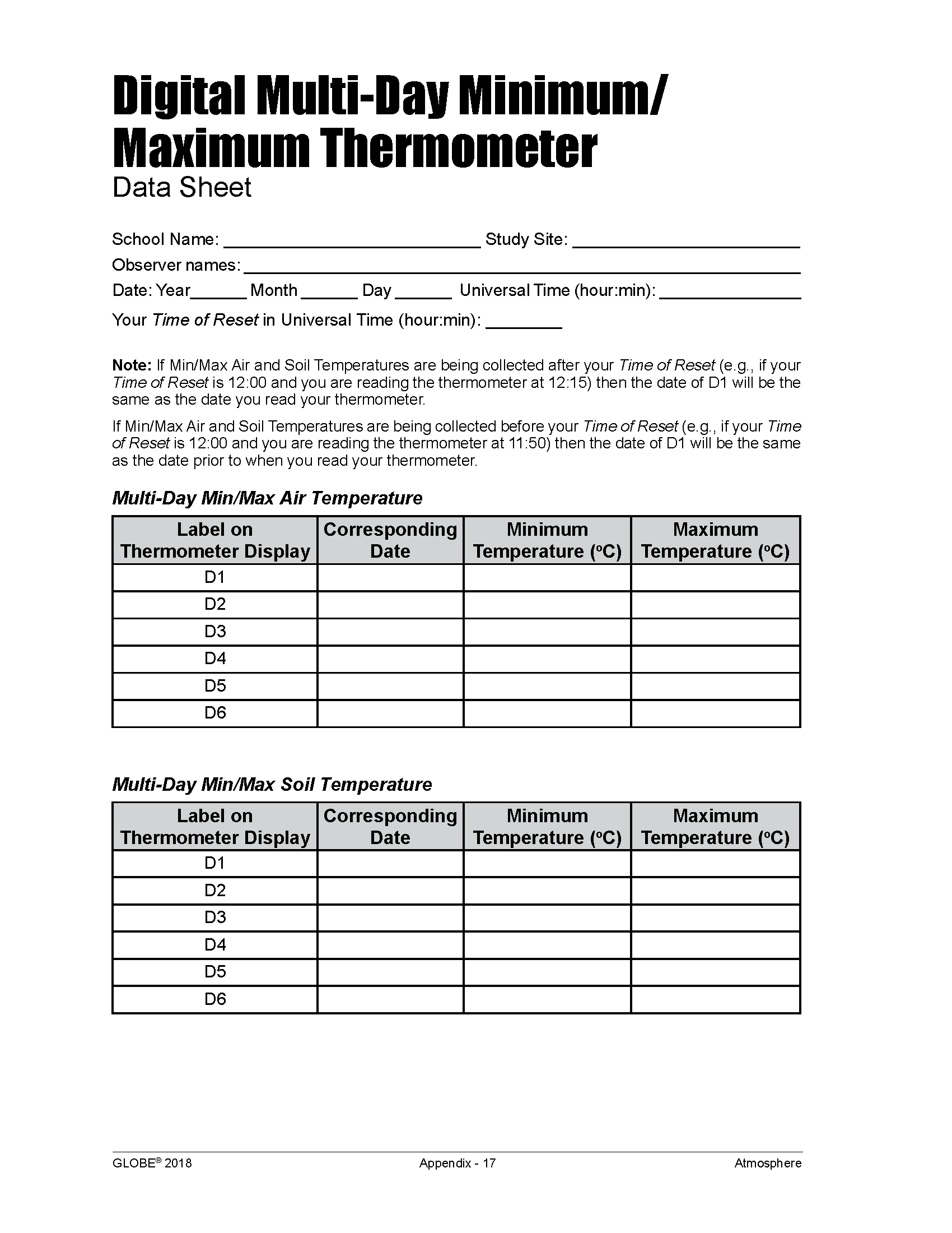 Air Temperature Data Sheet