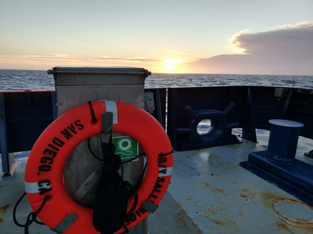 The Sun sets over the R/V Sally Ride as she carries a fleet of scientists on the EXPORTS cruise in the Gulf of Alaska. Credits: Abigale Wyatt