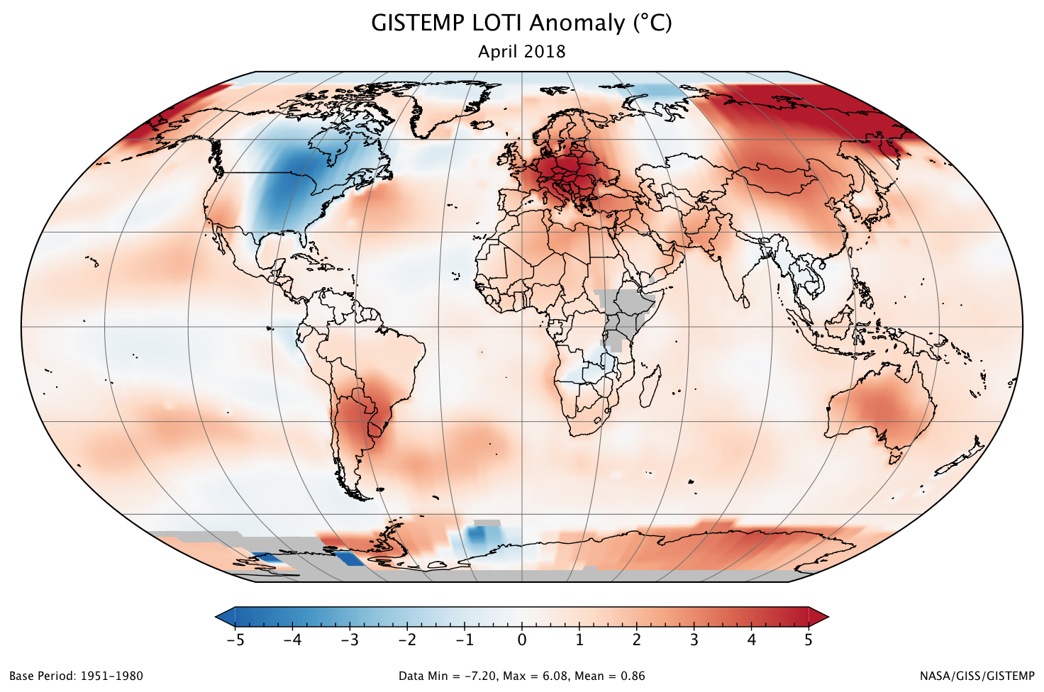 A global map of the April 2018 LOTI (land-ocean temperature index) anomaly, relative to the 1951-1980 April average. Parts of East Africa and Antarctica are gray because temperature data has not yet been received from those areas.
