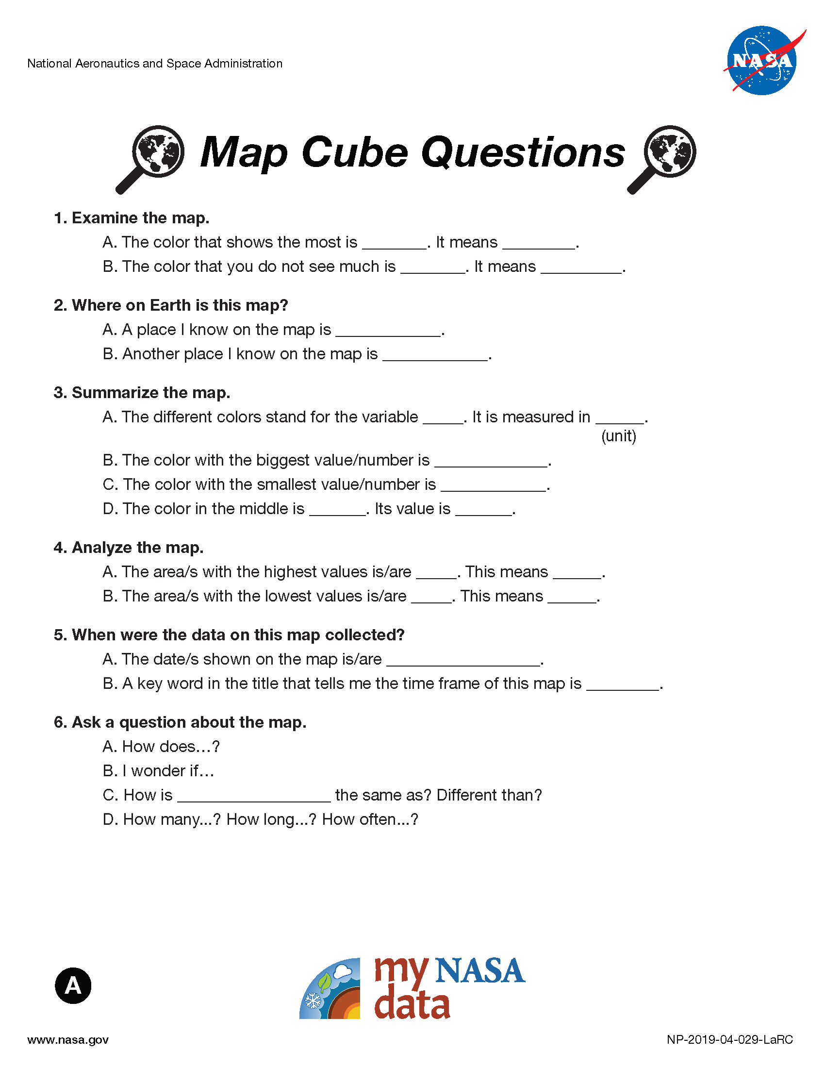 My NASA Data - Data Literacy Cubes - Map Cube Questions - Beginner