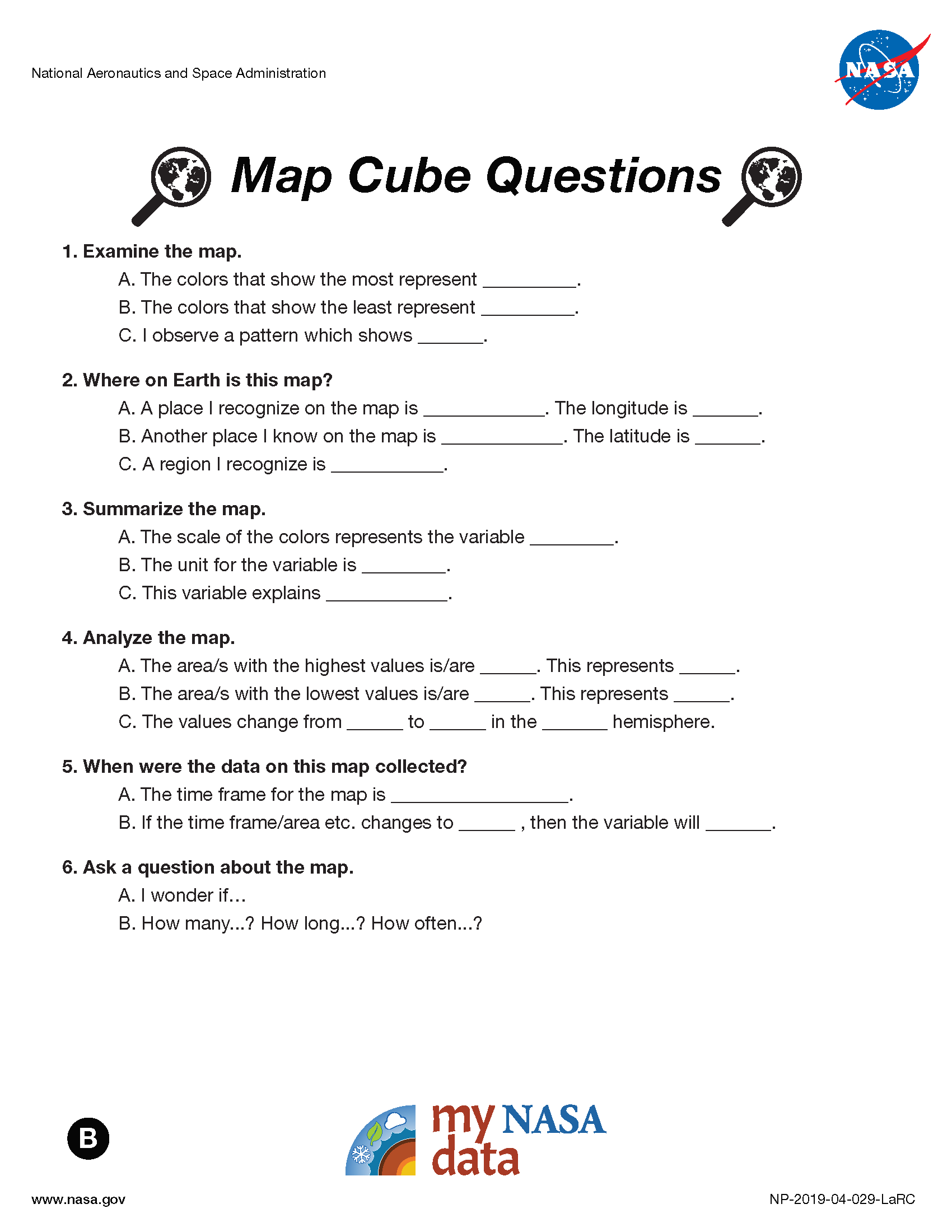 My NASA Data - Data Literacy Cubes - Map Cube Questions - Intermediate
