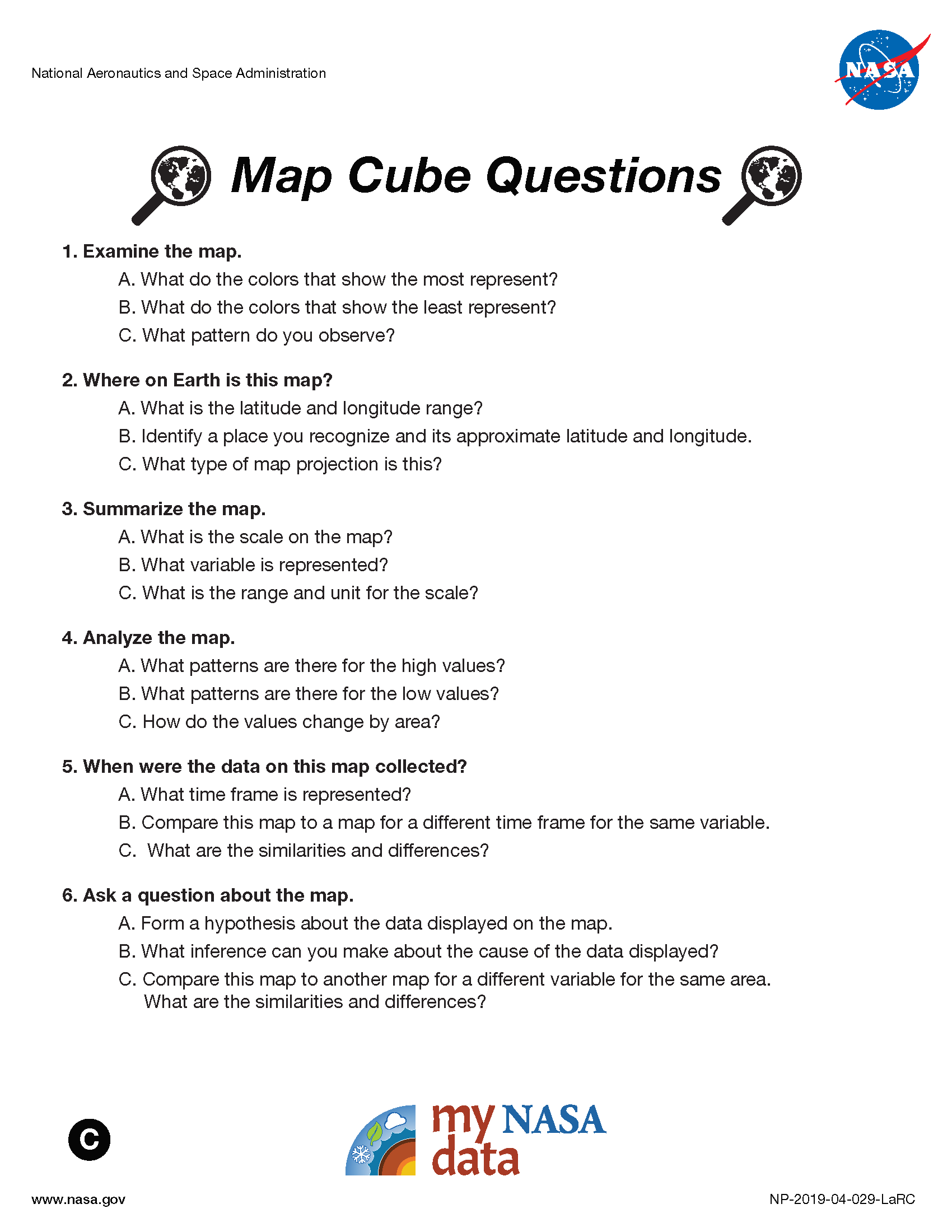 My NASA Data - Data Literacy Cubes - Map Cube Questions - Advanced