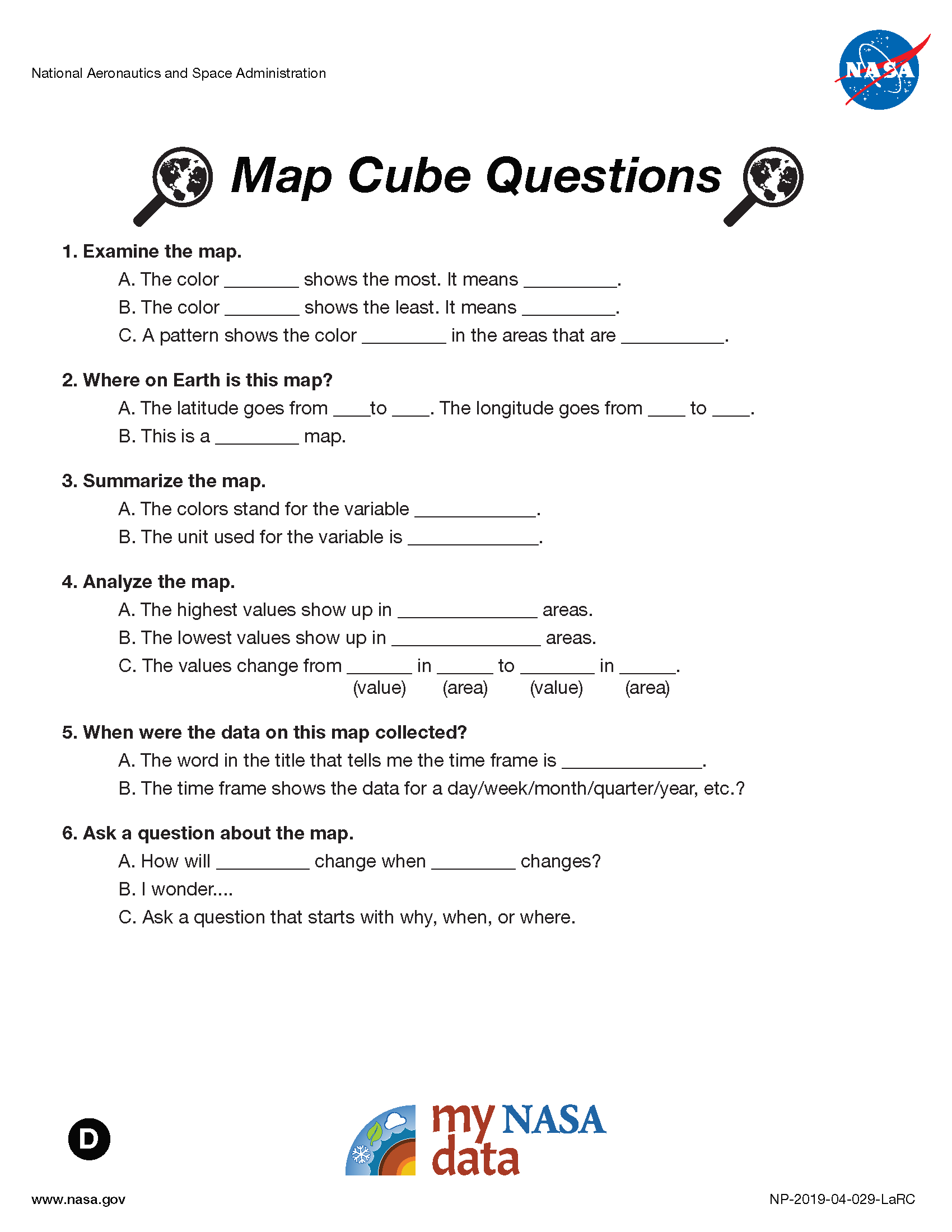 My NASA Data - Data Literacy Cubes - Map Cube Questions - ELL