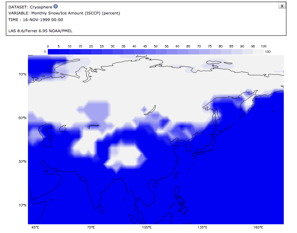 Model Data Visualization of Snow/Ice Amount (percent) for November 1999