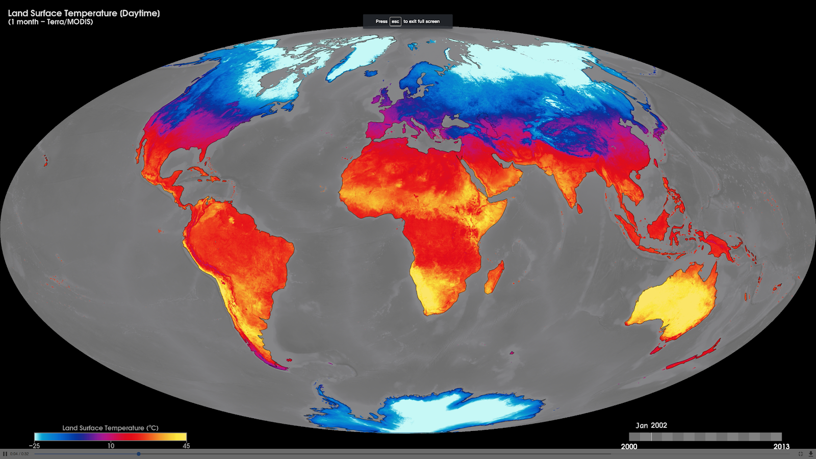 monthly daytime land-surface temperatures
