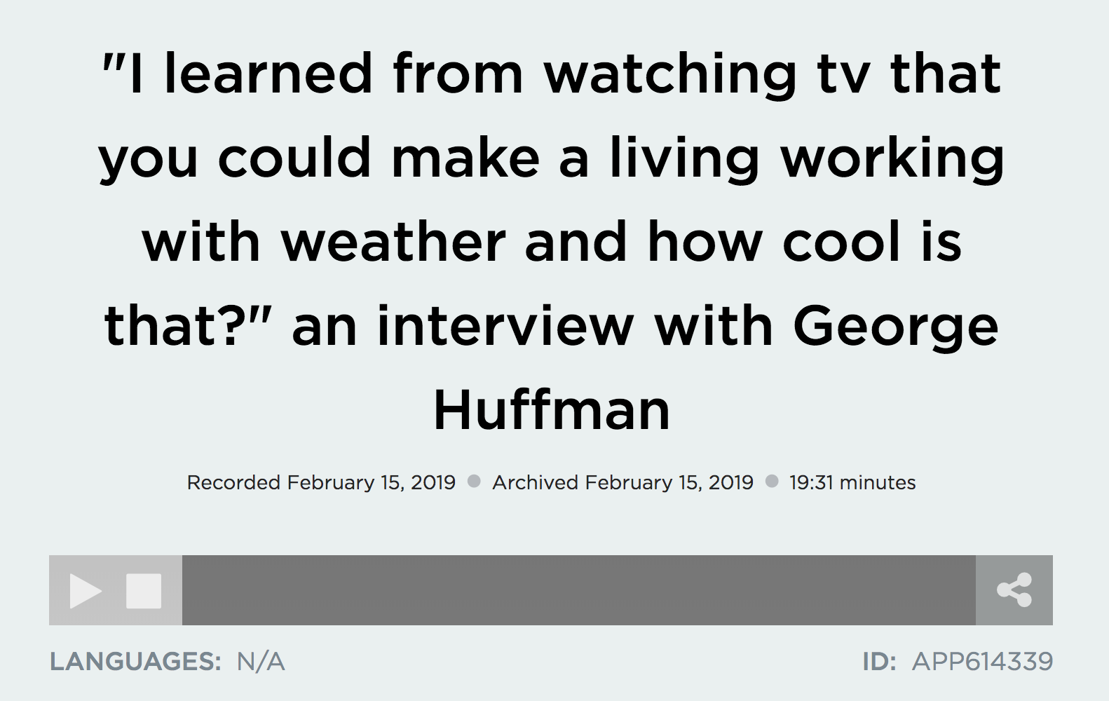 interview with George Huffman