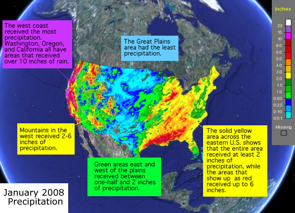 Example interpretation of the January 2008 Precipitation image