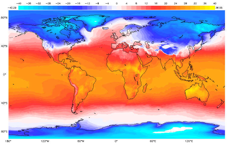 Earth System Data Explorer Monthly Surface Air Temperature February 2019
