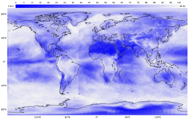 Earth System Data Explorer - Monthly Total Cloud Cover - January 2019