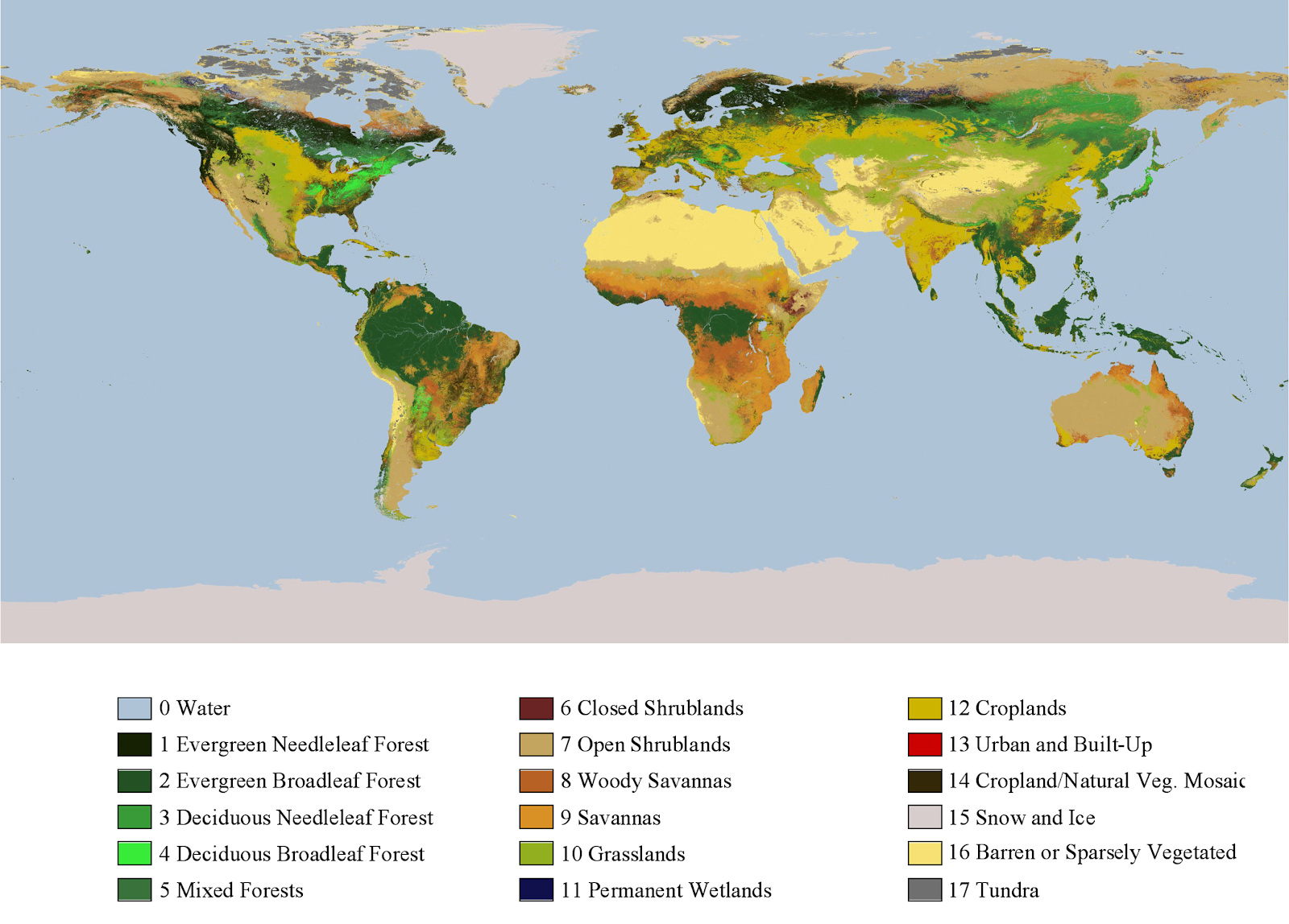 his image shows land cover through a color-coded classification. There are 17 types of land cover, ranging from evergreen needleleaf forest to tundra. Water is depicted in light blue. Credit: NASA GSFC
