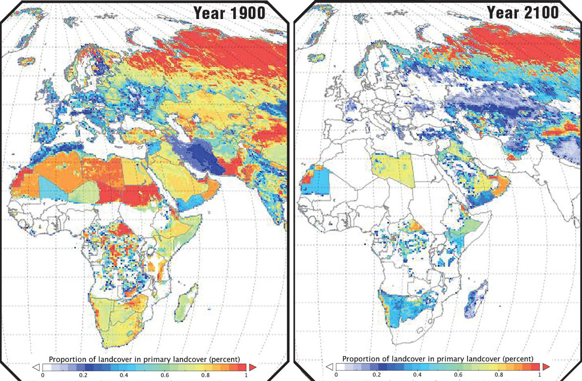 Primary Land Cover 1900 and 2100 Africa