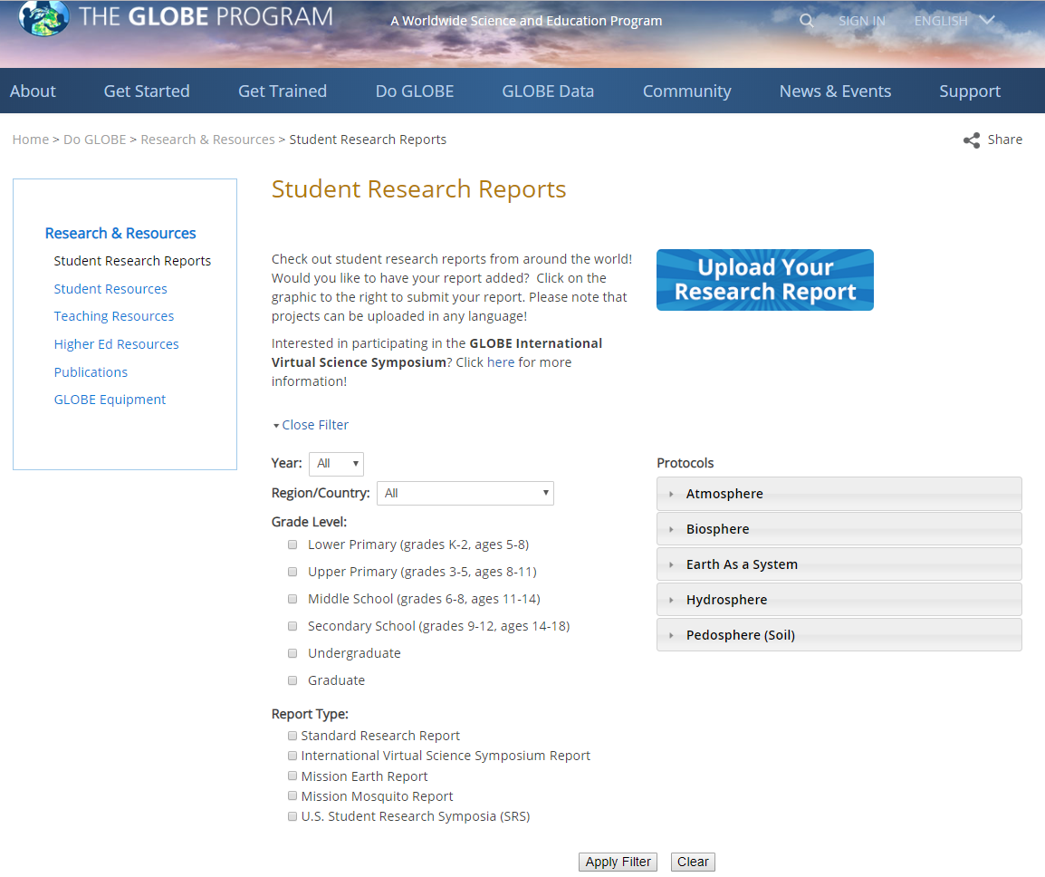 GLOBE Student Research Report Filter Screen